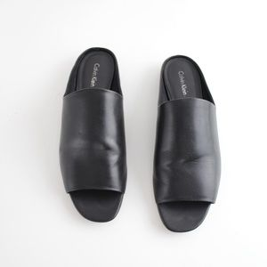 Minimal Smooth Leather Slides Mules Open Toe Flats